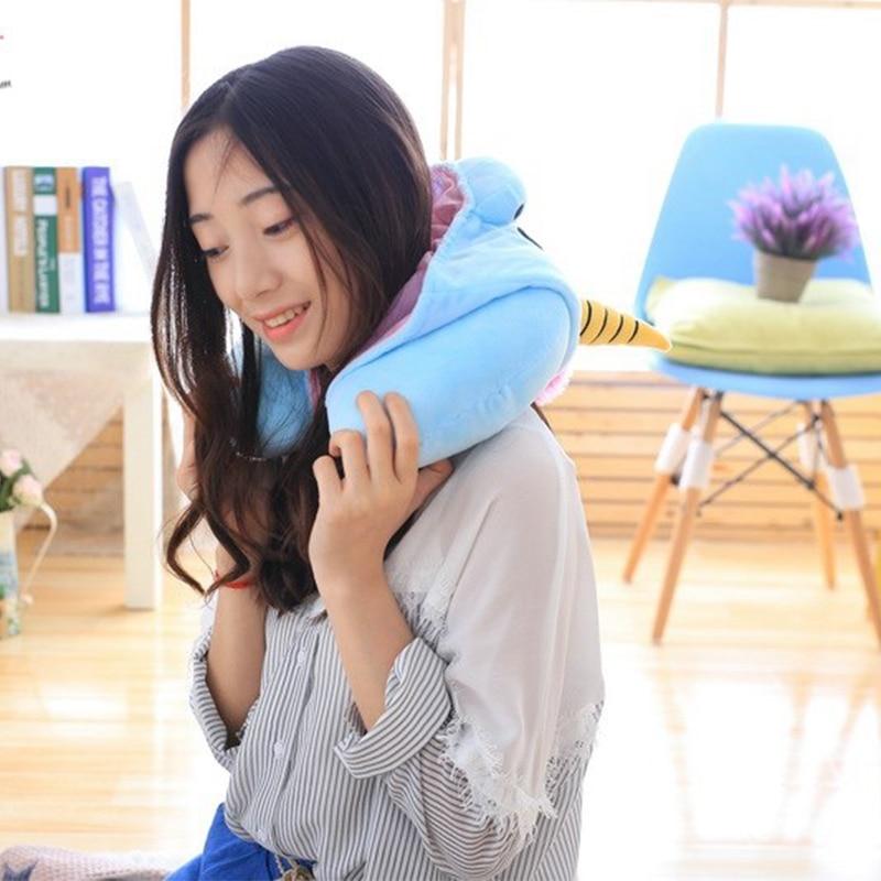 Cartoon U-Shape Hoodie Travel Pillow