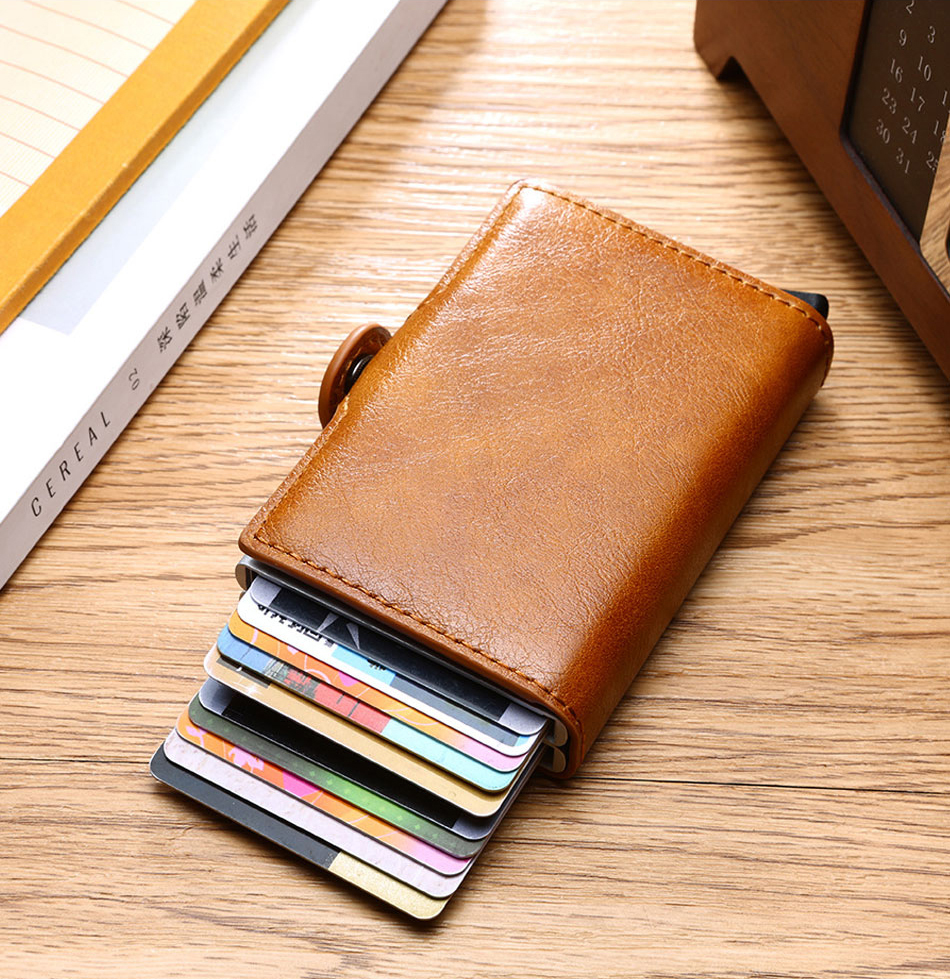 Double Card Case Trifold Anti RFID Luxury Men Wallet